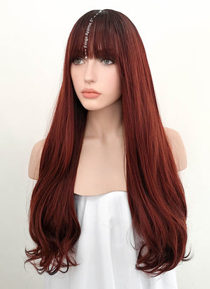 Dark Red With Dark Roots Wavy Synthetic Wig NS051