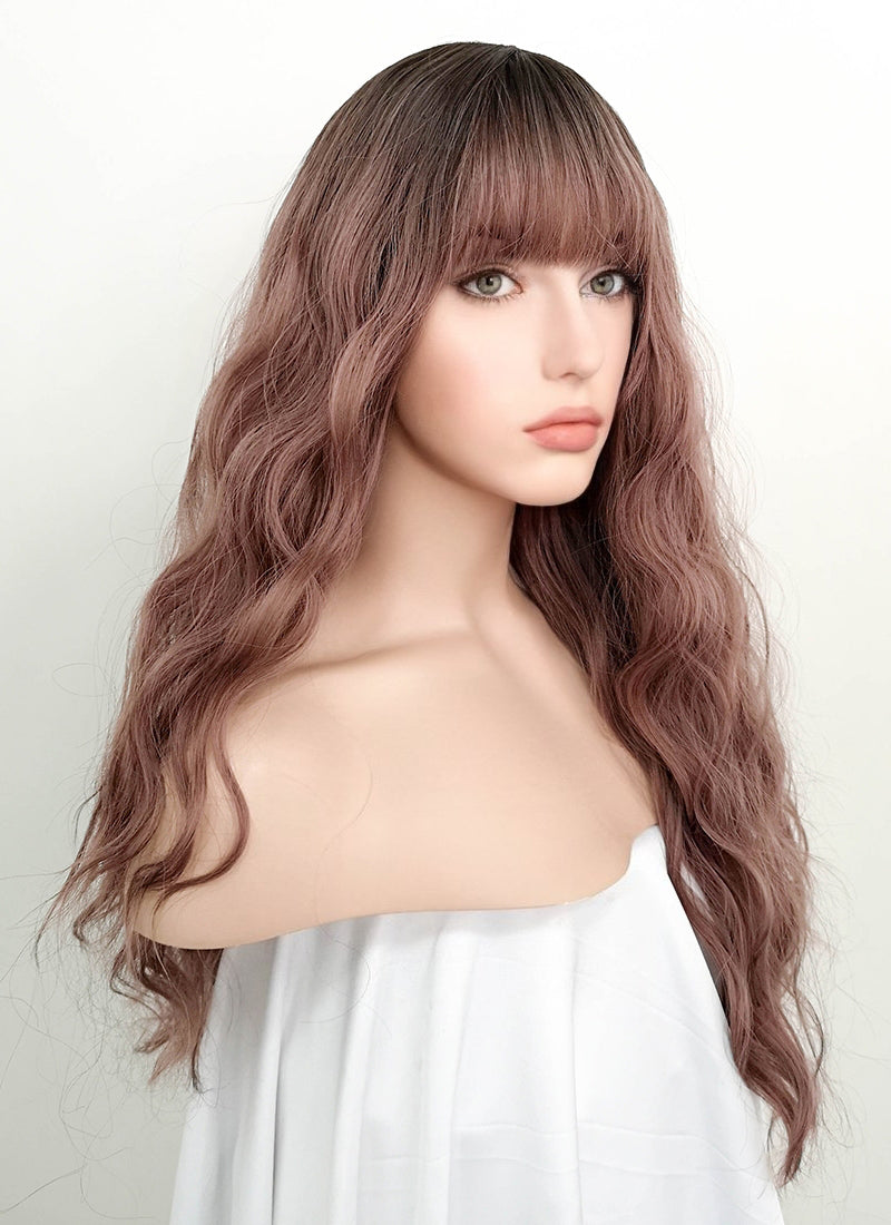 Pale Plum With Dark Roots Wavy Synthetic Wig NS056