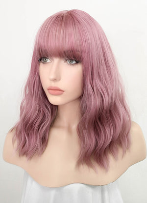 Pink Wavy Synthetic Wig NS063