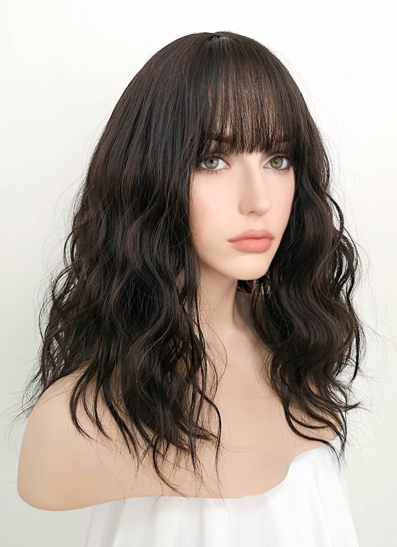 Black Wavy Synthetic Wig NS064