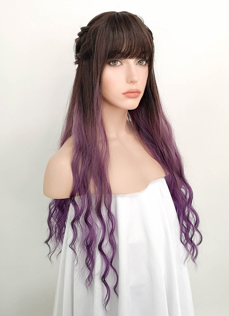 Two Tone Purple With Dark Roots Wavy Synthetic Wig NS068