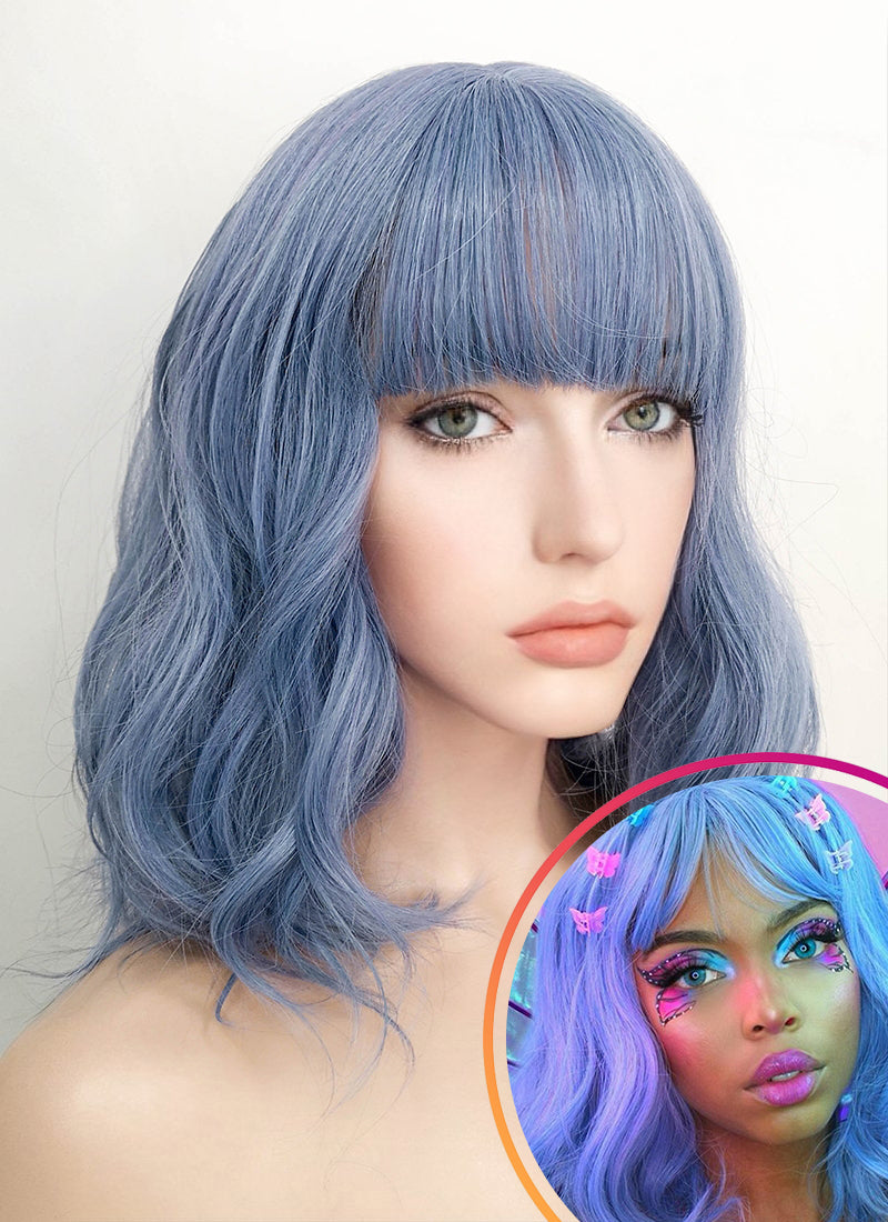 Blue Wavy Bob Synthetic Wig NS102