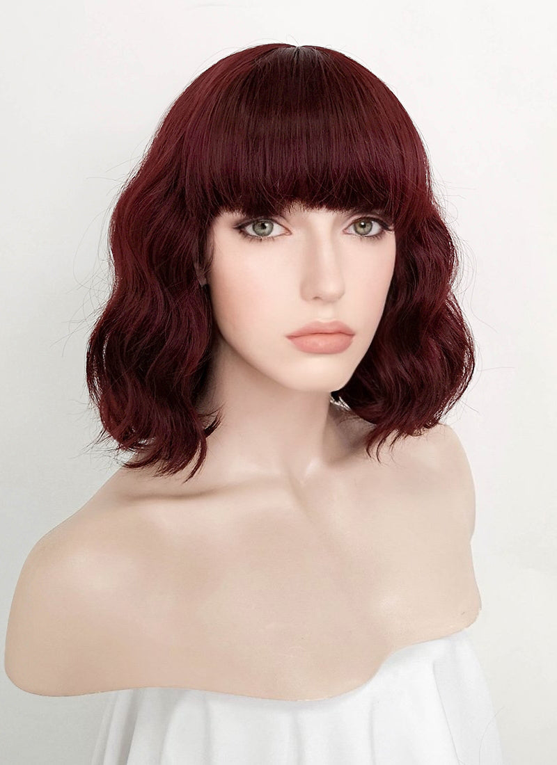 Dark Burgundy Wavy Bob Synthetic Wig NS111
