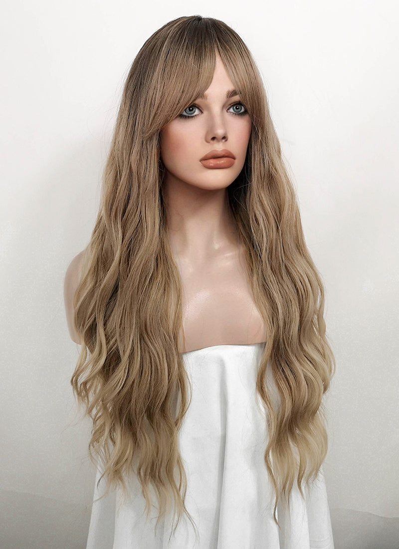 Ash Blonde With Dark Roots Wavy Synthetic Wig NS125