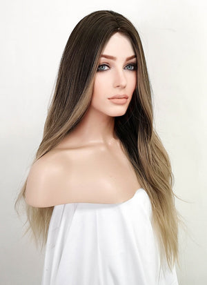 Ash Blonde Black Ombre Wavy Synthetic Wig NS140