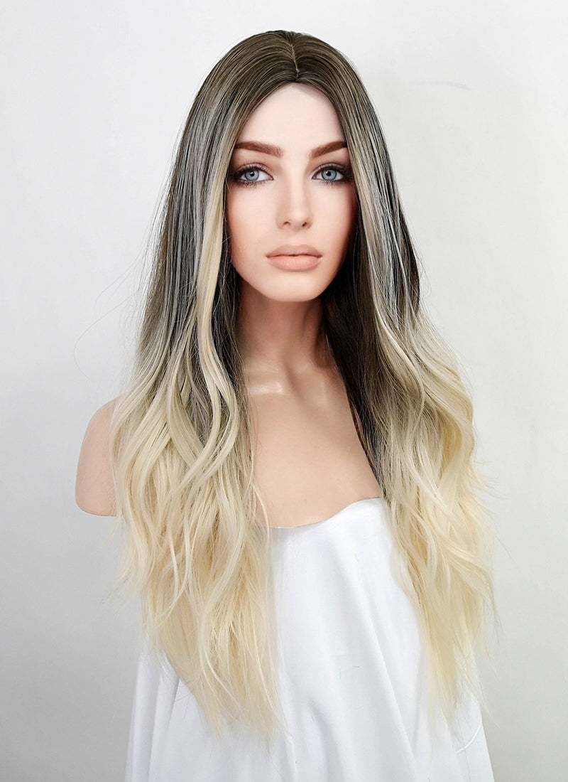 Light Blonde Mixed Brunette Wavy Synthetic Wig NS146