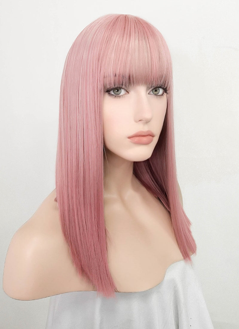 Pastel Pink Straight Bob Synthetic Wig NS160