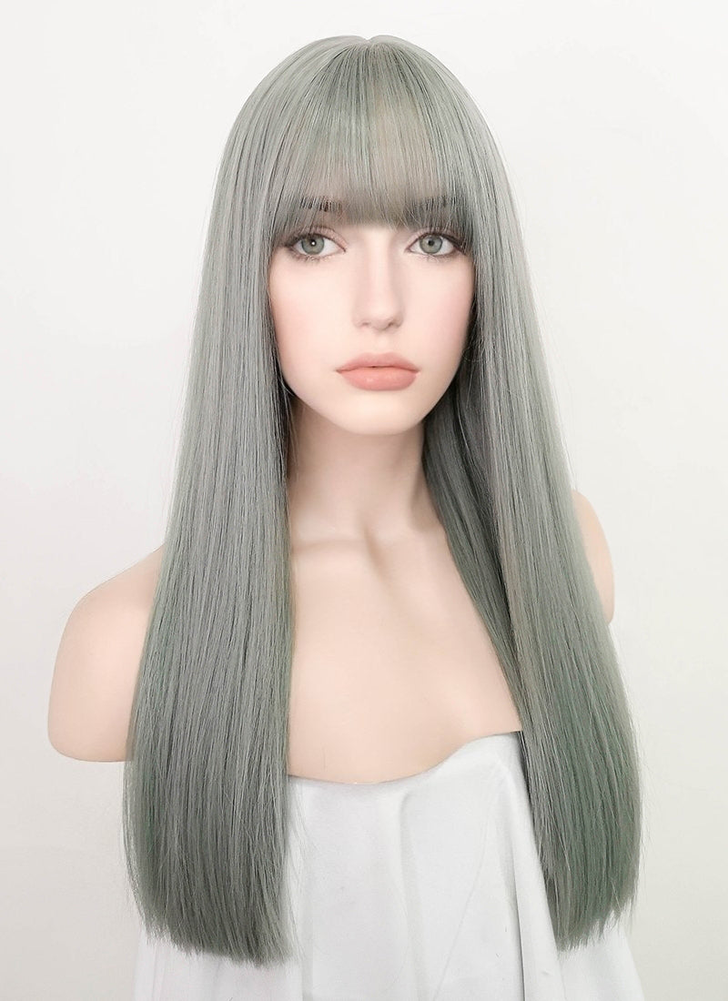 Greeny Grey Straight Synthetic Wig NS223