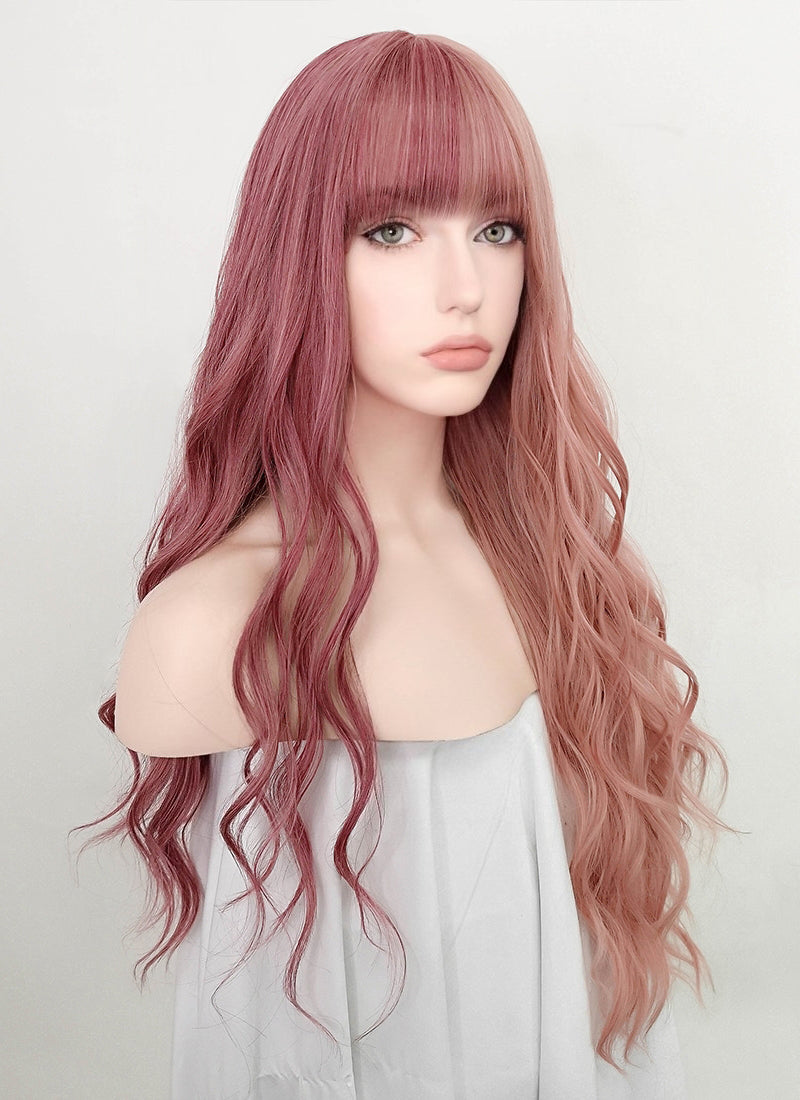 Two Tone Pink Wavy Synthetic Wig NS239