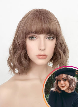 Pastel Pale Plum With Curly Bang Synthetic Wig PN004