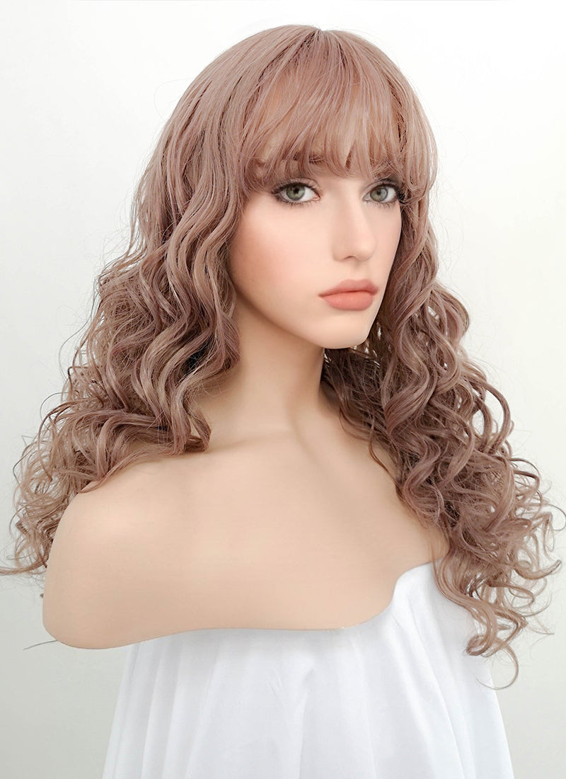 Pastel Pale Plum With Curly Bang Synthetic Wig PN006