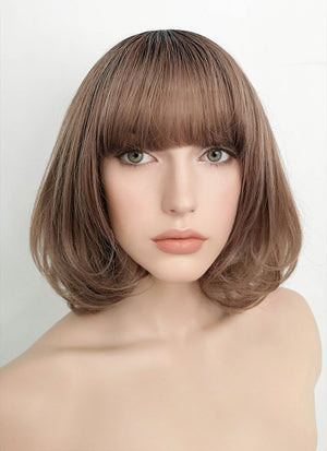 Brown With Dark Roots Straight Synthetic Wig PN009
