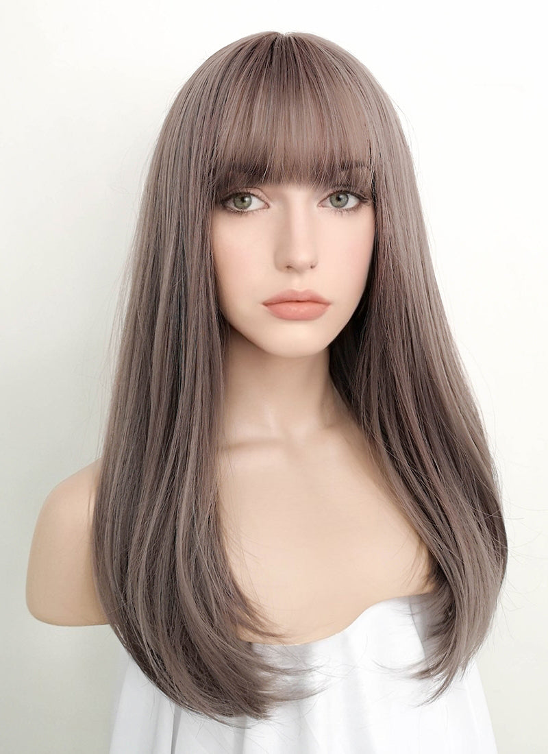Ash Pinkish Grey Wavy Synthetic Wig PN010