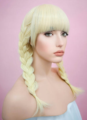 Light Blonde Straight Synthetic Wig TH002