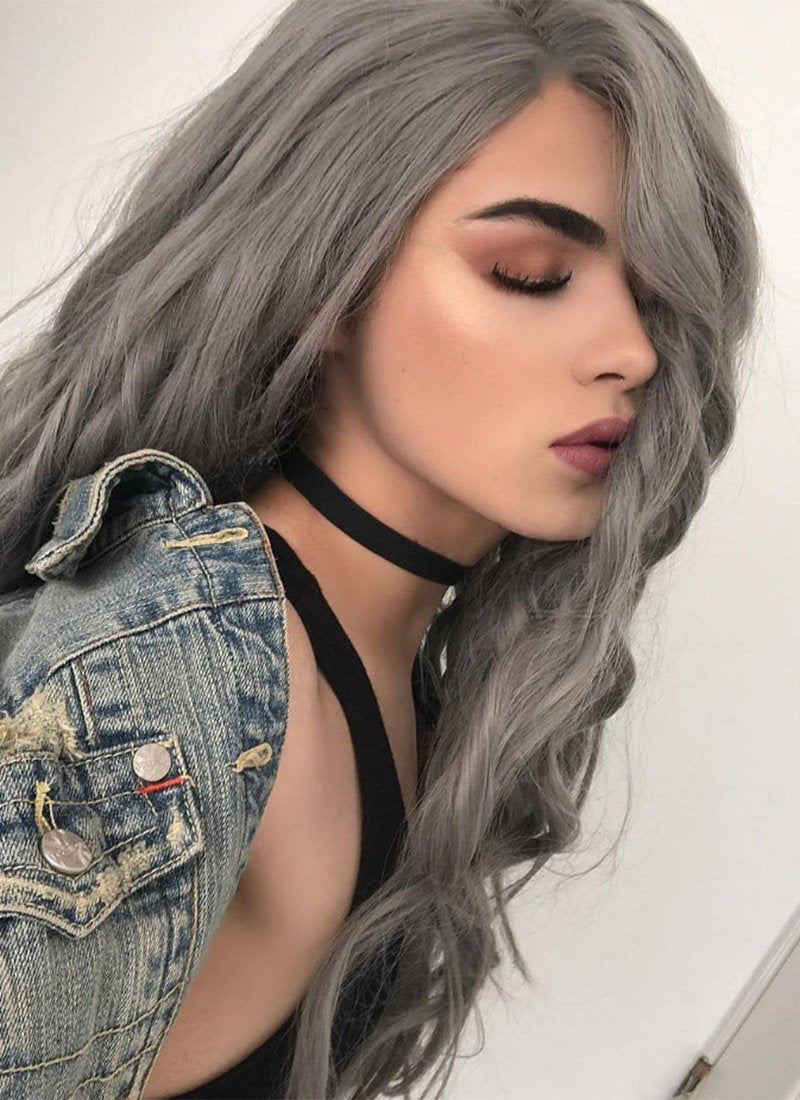 Straight Silver Grey Lace Front Synthetic Wig LF150A - Wig Is Fashion Australia