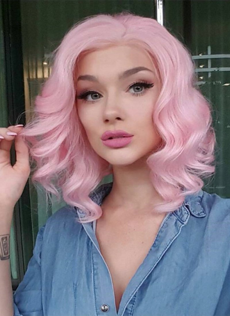 Pink Wavy Bob Lace Front Synthetic Wig LF308 - Wig Is Fashion Australia