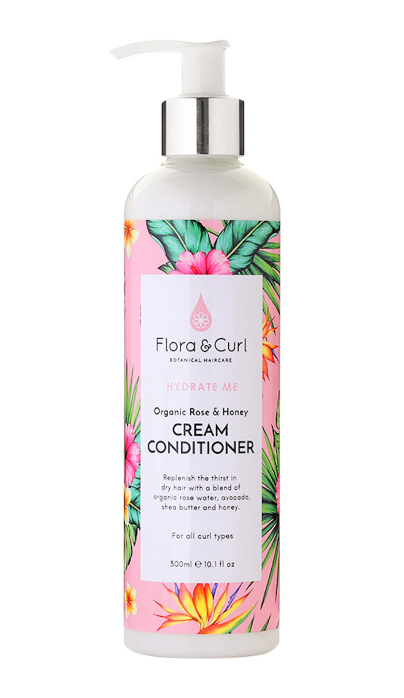 Flora & Curl Organic Rose & Honey Cream Conditioner - Après-Shampoing 300ml