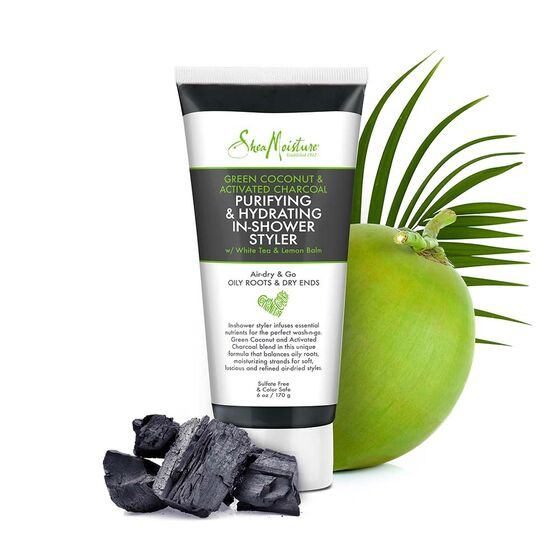 Shea Moisture Green Coconut & Activated Charcoal Puryfying & Hydrating In-Shower Styler 170g