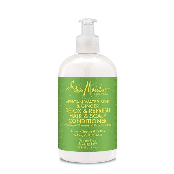 Shea Moisture African Water Mint & Ginger Detox & Refresh Hair & Scalp Gentle Conditioner - Après-Shampoing Detox 384ml