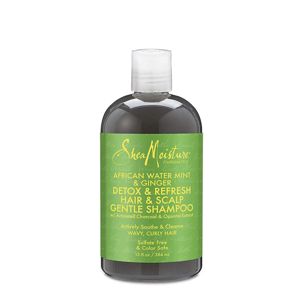 Shea Moisture African Water Mint & Ginger Detox & Refresh Hair & Scalp Gentle Shampoo - Shampoing Detox 384ml