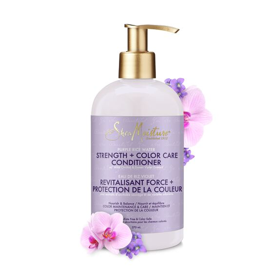 Shea Moisture Purple Rice Water Strength + Color Care Conditioner - Après-Shampoing Pour Cheveux Colorés 384ml