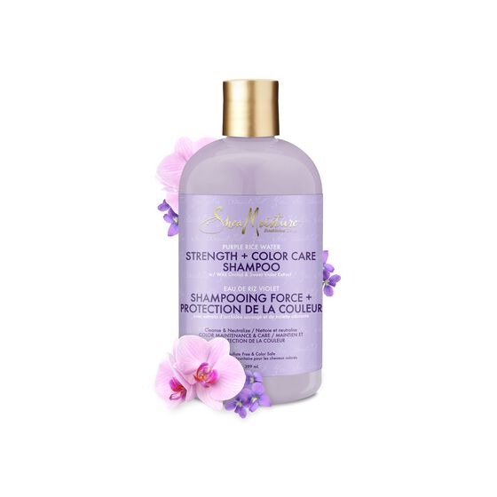 Shea Moisture Purple Rice Water Strength + Color Care Shampoo - Shampoing pour Cheveux Colorés 384ml