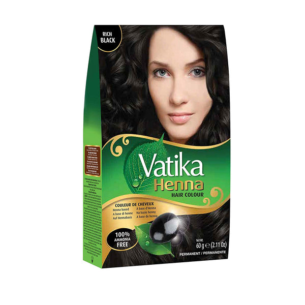 Vatika Henna Hair Color Rich Black - Riche Noir 6x10g