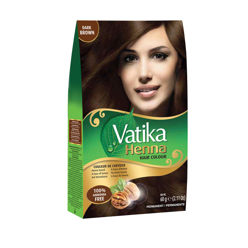 Vatika Henna Hair Color Dark Brown - Brun Foncé 6x10g
