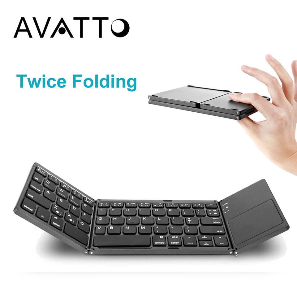 Portable Twice Folding Bluetooth Keyboard BT Wireless
