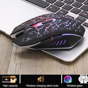 Wireless Mouse Colorful Glare Optical Ergonomic