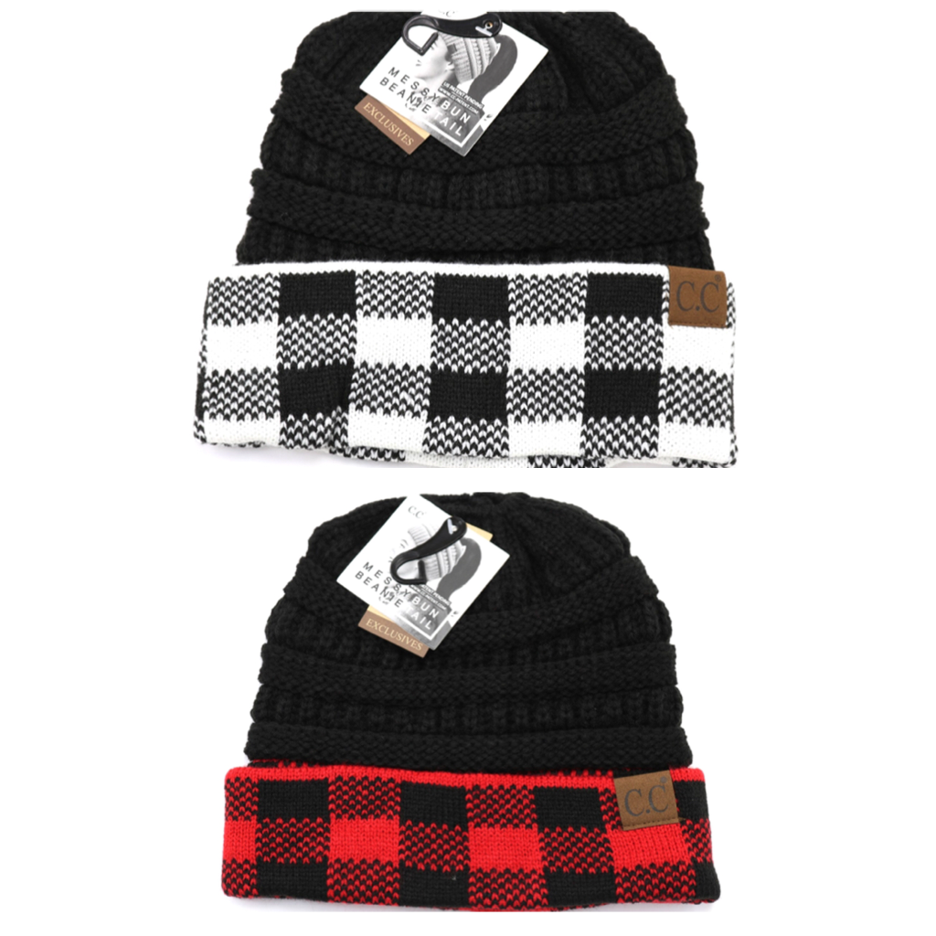 C.C. Beanie Buffalo Check Messy Bun/Ponytail