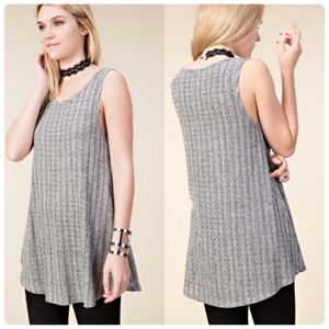 Vocal All-Over Crystal Tank-Grey