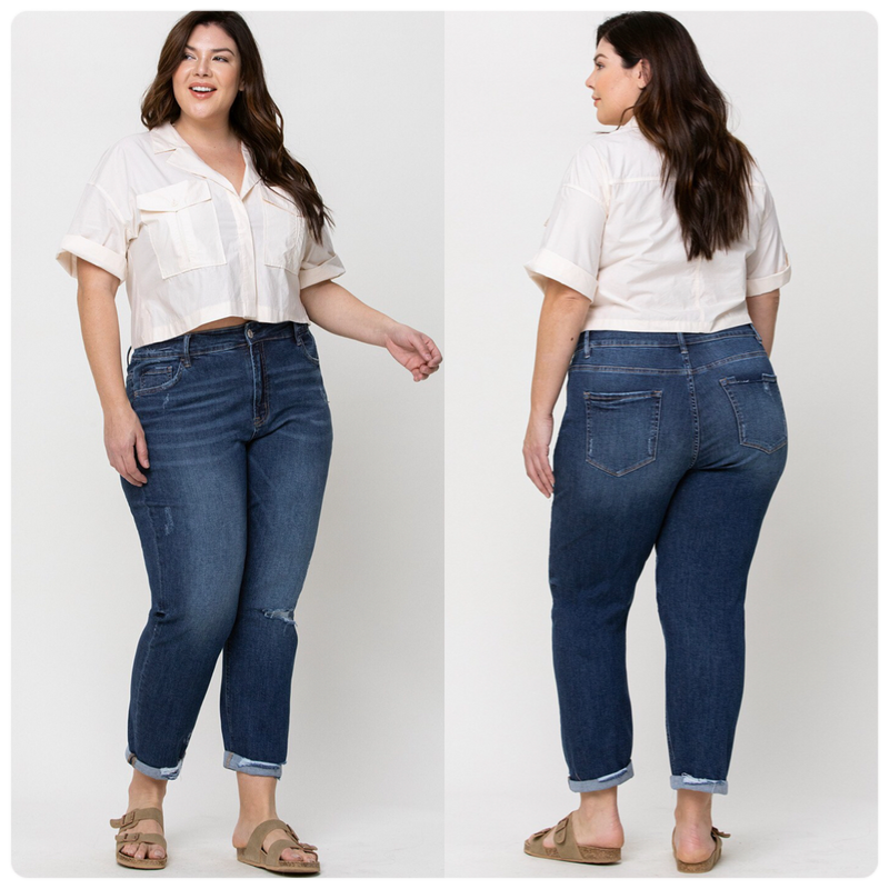 Plus Size Distressed Boyfriend Jean