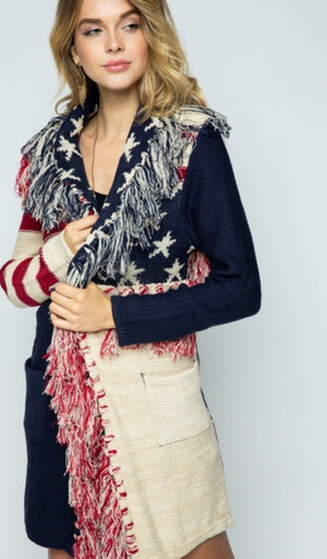 Vocal Flag Sweater Cardigan with Fringe