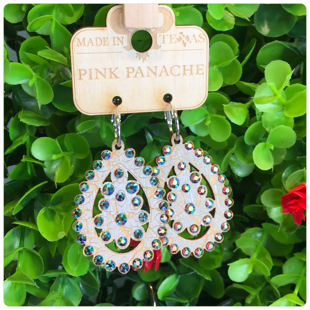 Pink Panache Silver Crackle Wood Earrings