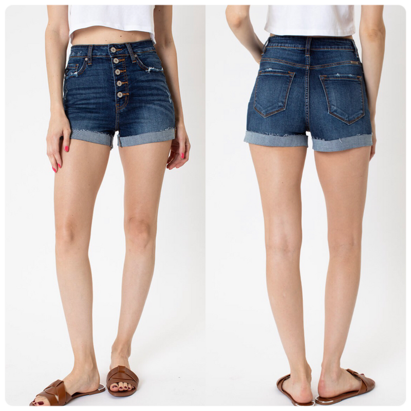 KanCan Nigh Rise Button Down Shorts