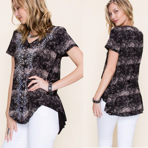 Vocal Black Short Sleeve Top w/Stone