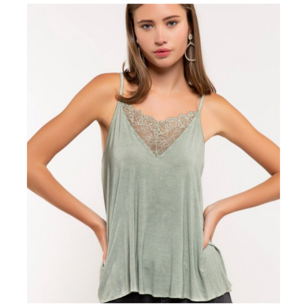 V-Neck Camisole with Front & Back Lace