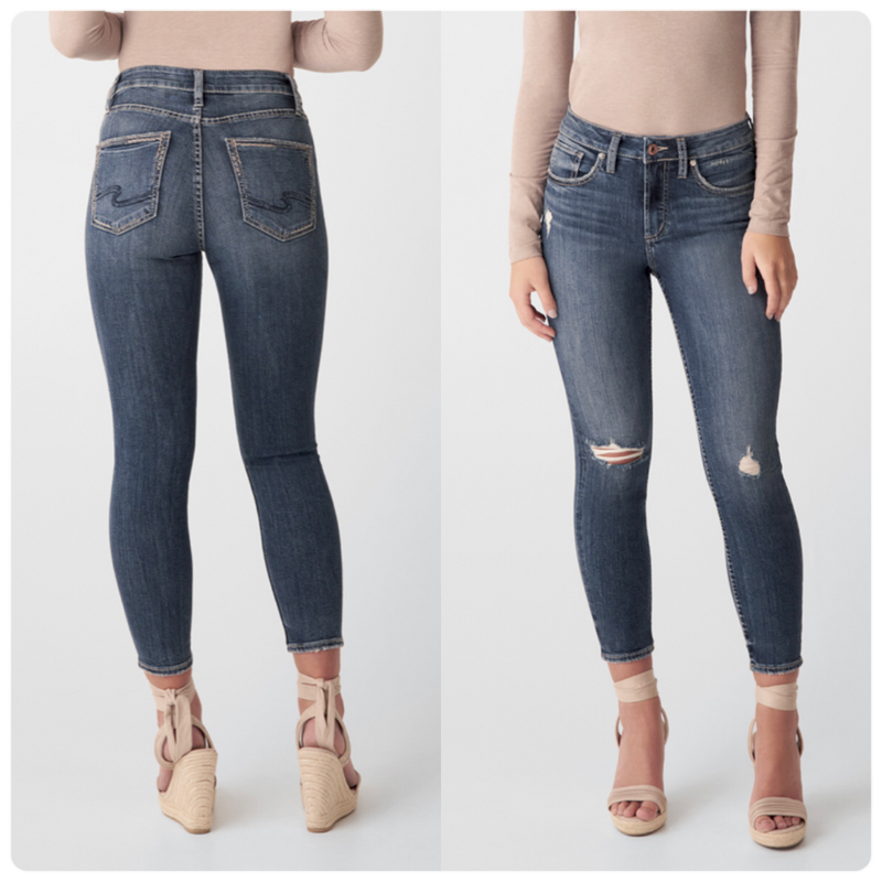 Silver Avery High Rise Skinny Crop Jean