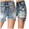 Americana Embroidered Shorts with Buffalo Plaid