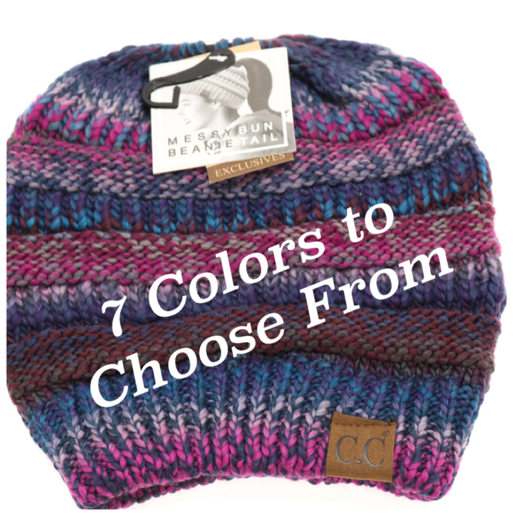 C.C. Beanie Multi Color Messy Bun/Ponytail