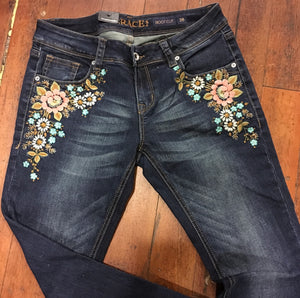 Grace in LA Floral Embroidered Junior Bootcut