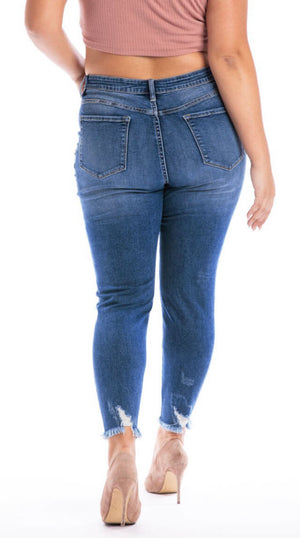 Kan Can High Rise Patched Ankle Skinny-Plus