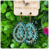 Pink Panache Turquoise Crackle Wood Earrings