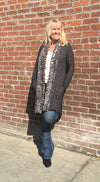 Black with LEOPARD Fur Trim Cardigan