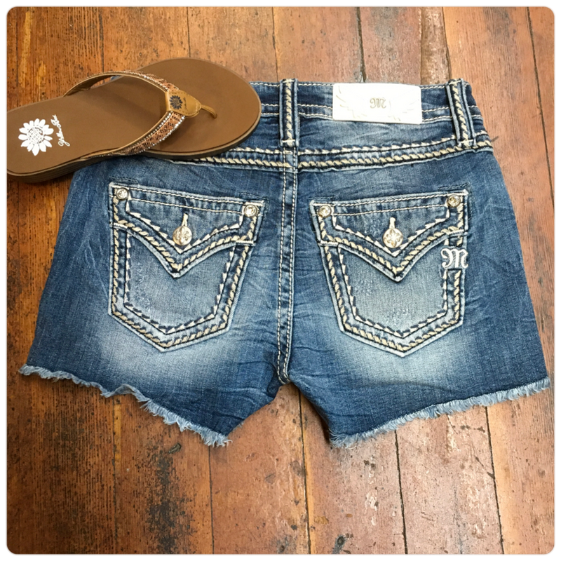 Miss Me Frayed Hem Mid Rise Shorts