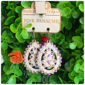 Pink Panache Pearl White Crackle Wood Earrings