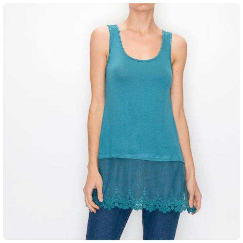 Sleeveless Top with Lace Extender