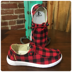 Women's Kayak Slip On Canvas Red Plaid Shoe