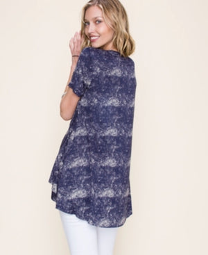 Vocal Short Sleeve Navy Top w/Stone